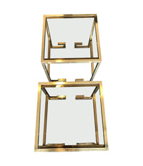 PAIR OF BRASS GREEK KEY DESIGN SIDE TABLES