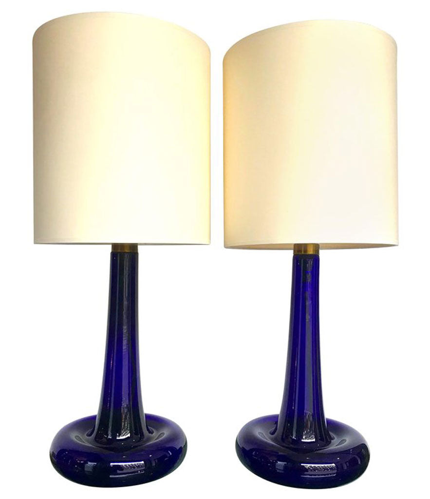"PAIR OF COBALT BLUE ""FLEUR"" LAMPS BY HOLMEGAARD"