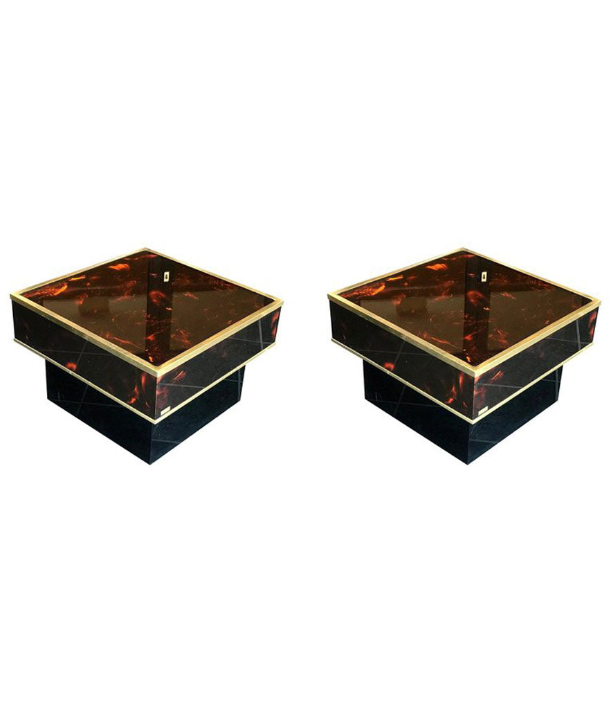 PAIR OF ERIC MAVILLE FAUX TORTOISESHELL SIDE TABLES