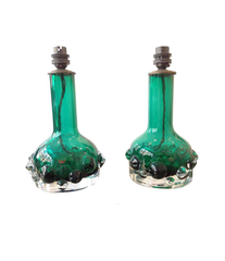 PAIR OF GREEN KOSTA GLASS LAMPS