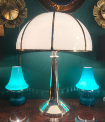 PAIR OF HANS-AGNE JAKOBSSON TURQUOISE GLASS LAMPS