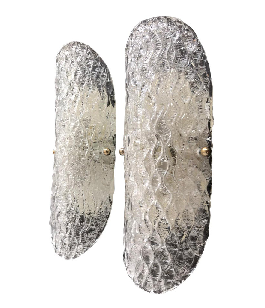 PAIR OF HILLEBRAND ICE GLASS WALL SCONCES WITH TEXTURED CURVED GLASS SHADES