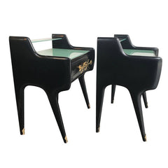 PAIR OF ITALIAN 1950S EBONIZED BEDSIDE TABLES