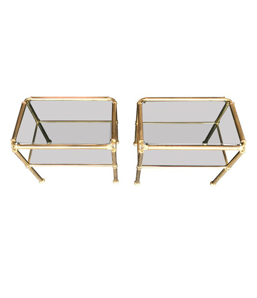 PAIR OF ITALIAN BRASS SIDE TABLES WITH SMOKED GLASS SHELVES