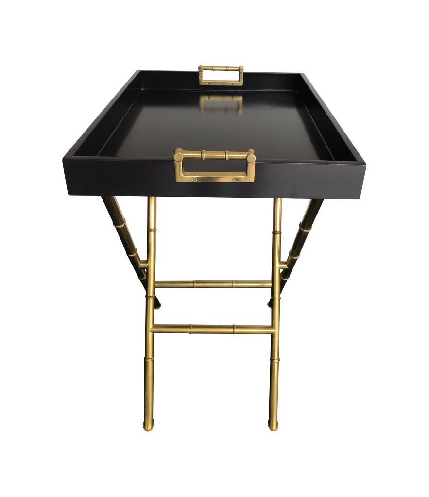 PAIR OF LACQUERED SIDE TABLES WITH BRASS FAUX BAMBOO LEGS AND HANDLES