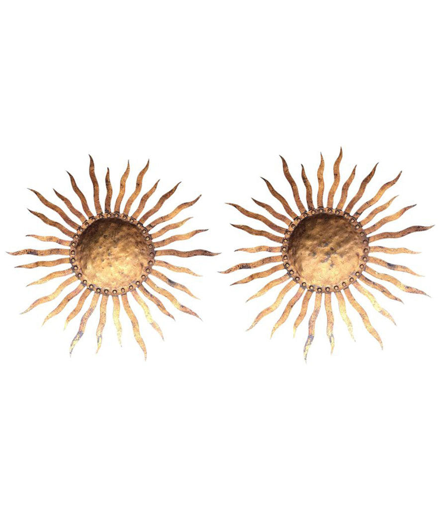 PAIR OF LARGE 1950S WROUGHT IRON SUNBURST WALL SCONCES