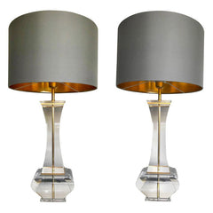 PAIR OF LARGE 1970S LUCITE LAMPS