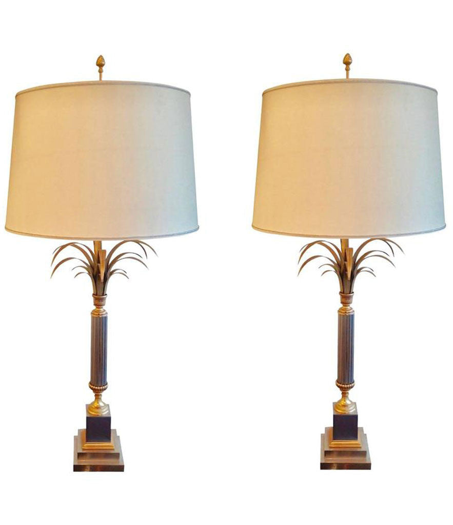 PAIR OF LARGE FRENCH PALM TREE LAMPS