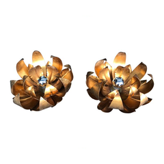 PAIR OF LARGE GILT METAL FLOWER WALL LIGHTS