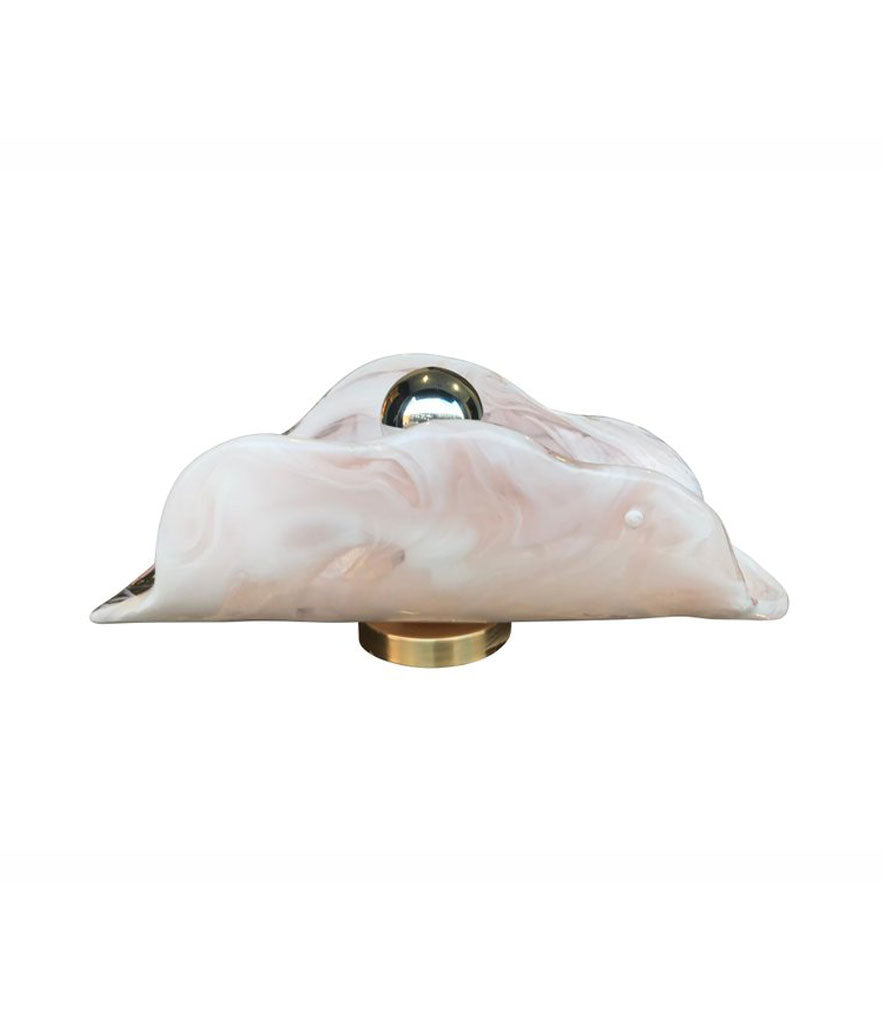 PAIR OF LARGE MAZZEGA PINK AND WHITE LATTIMO GLASS WALL SCONCES