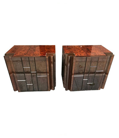PAIR OF LUCIANO FRIGERIO WALNUT SIDE CABINETS