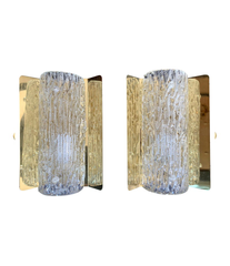 PAIR OF ORREFORS GLASS WALL SCONCES ON BRASS PLATES BY FALKENSBERG, SWEDEN