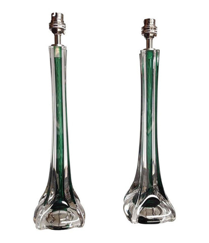 PAIR OF PAUL KEDELV GREEN GLASS LAMPS FOR FLYGSTORS