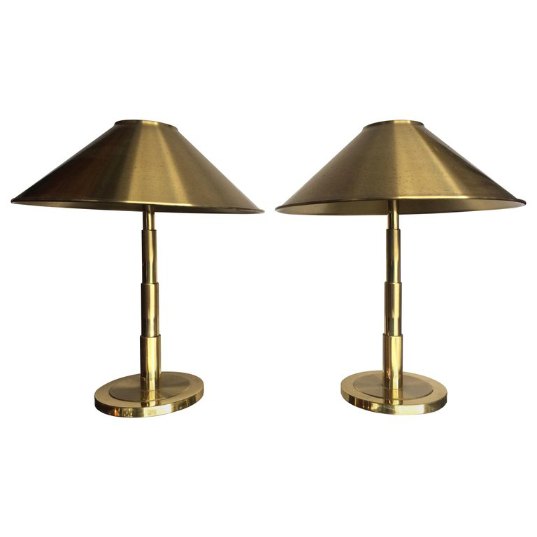 PAIR OF SWEDISH BRASS TABLE LAMPS