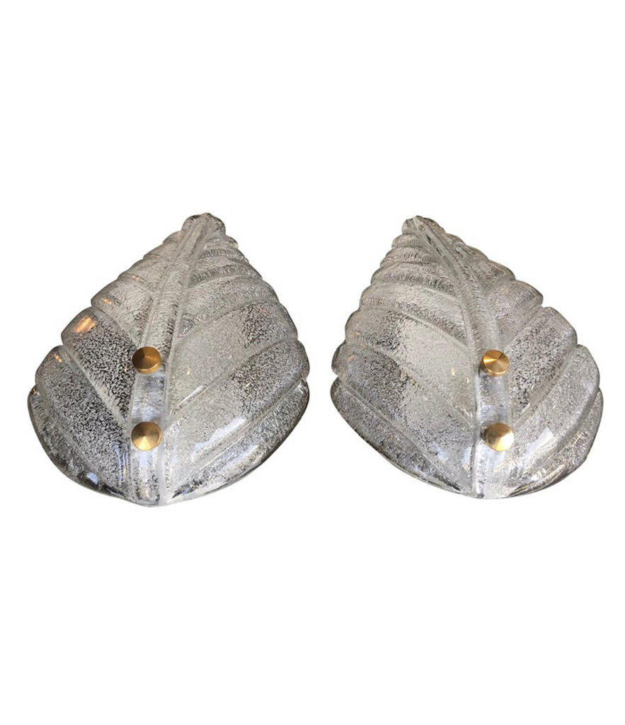 PAIR OF TEXTURED MURANO GLASS LEAF WALL SCONCES WITH BRASS SCREW FITTINGS