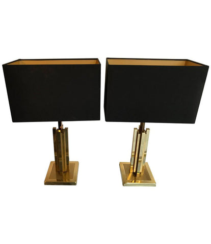 Table lamps ed butcher pair of willy rizzo brass table lamps aloadofball Gallery