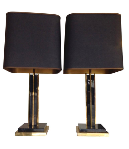 PAIR OF WILLY RIZZO LAMPS WITH MARBLE BASES