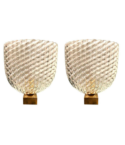 PAIR OF 1940S BAROVIER & TOSO GLASS AND BRASS WALL SCONCES