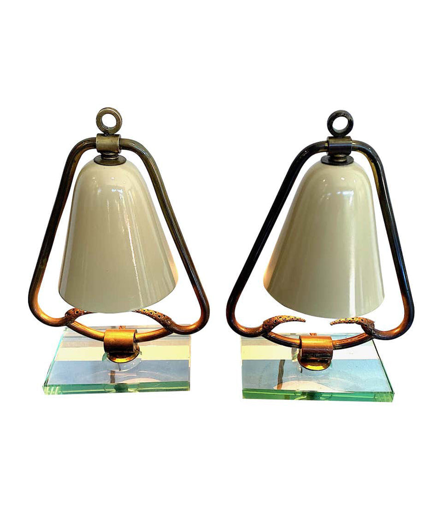 PAIR OF 1950S ITALIAN LAMPS WITH ENAMEL SHADES ON BRASS FRAME MOUNTED ON GLASS