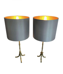 PAIR OF 1950S MAISON BAGUÈS BRASS FAUX BAMBOO LAMPS WITH NEW BESPOKE SHADES