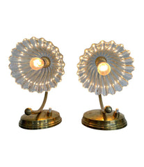 PAIR OF 1960S BAROVIER STYLE ITALIAN LAMPS WITH GLASS FLOWER SHAPED SHADES