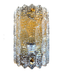 PAIR OF 1960S ORREFORS GLASS AND BRASS WALL SCONCES BY CARL FAGERLUND