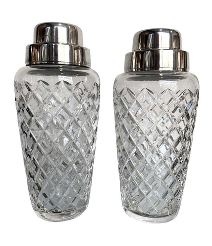 PAIR OF 1960S VAL SAINT LAMBERT CRYSTAL AND SILVER PLATE COCKTAIL SHAKERS