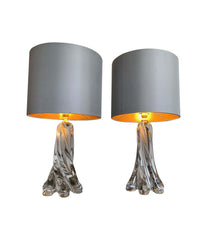 PAIR OF 1960S VAL ST LAMBERT CLEAR GLASS LAMPS WITH NEW BESPOKE SHADES