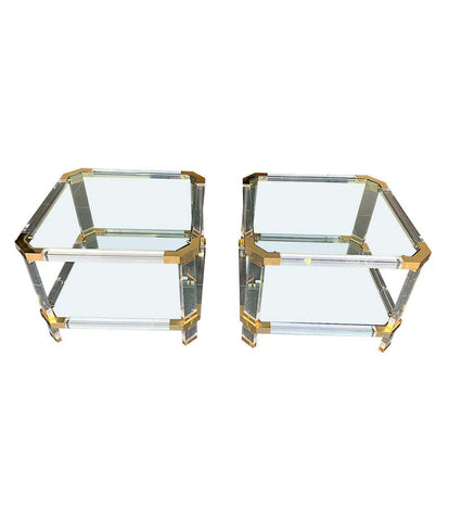 PAIR OF 1970S LUCITE AND BRASS SIDE TABLES IN THE STYLE OF CHARLES HOLLIS JONES