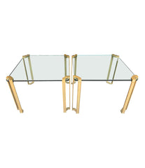 PAIR OF 1970S PETER GHYCZY BRASS AND GLASS SIDE TABLES