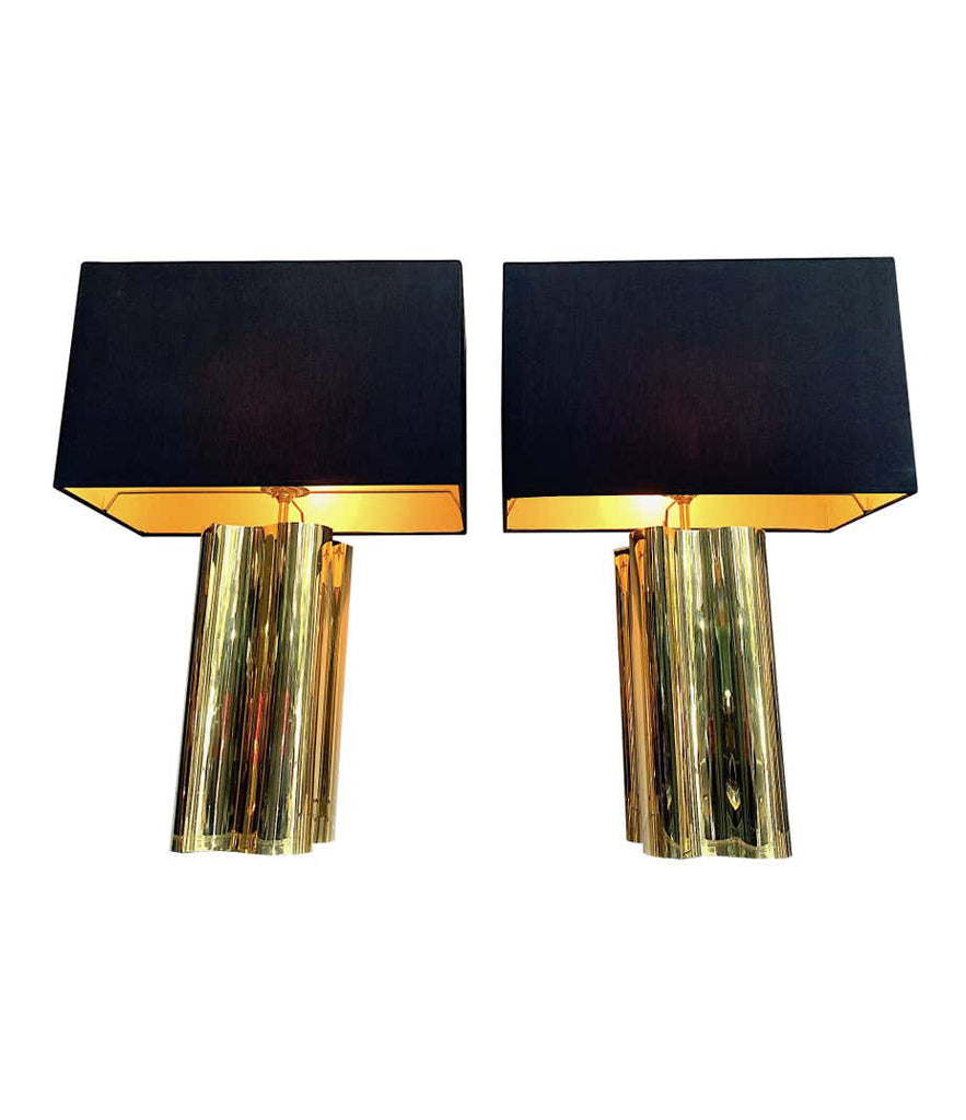 PAIR OF LARGE 1970S BRASS LAMPS WITH INTERESTING CURVED CORNERS AND NEW SHADES