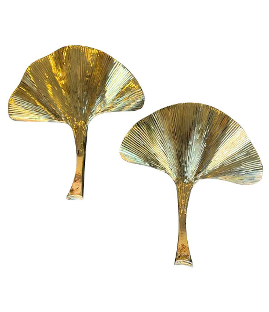Pair Of Large Brass Finish Gingko Leaf Wall Sconces In The Style Of Ba Ed Butcher