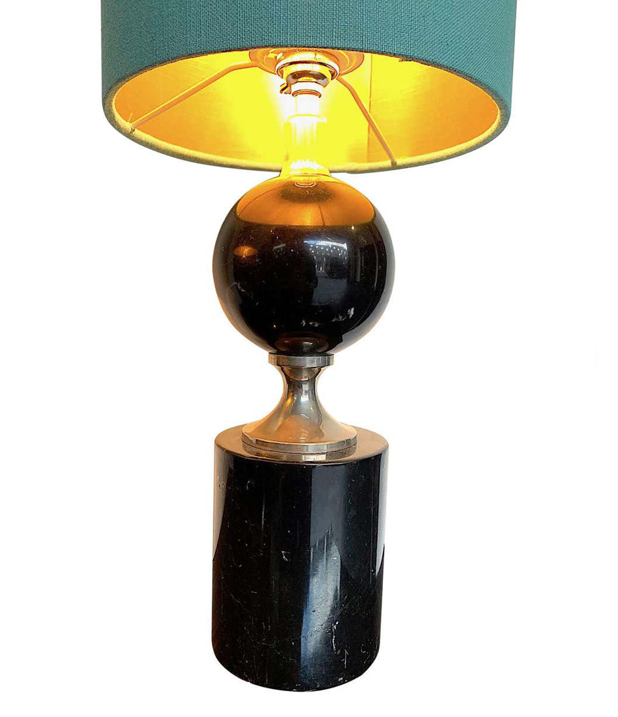PAIR OF MASION BARBIER BLACK MARBLE AND CHROME LAMPS WITH NEW BESPOKE SHADES