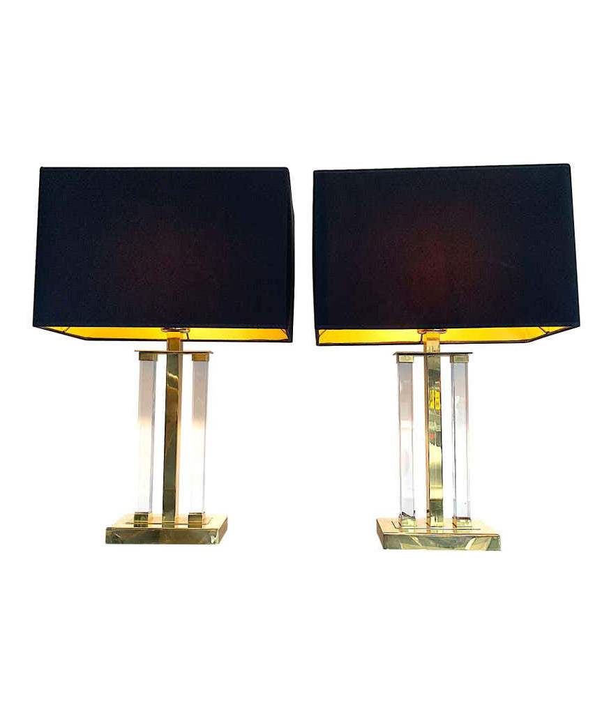 PAIR OF MIDCENTURY LUCITE AND BRASS LAMPS BY DEKNUDT WITH NEW BESPOKE SHADES