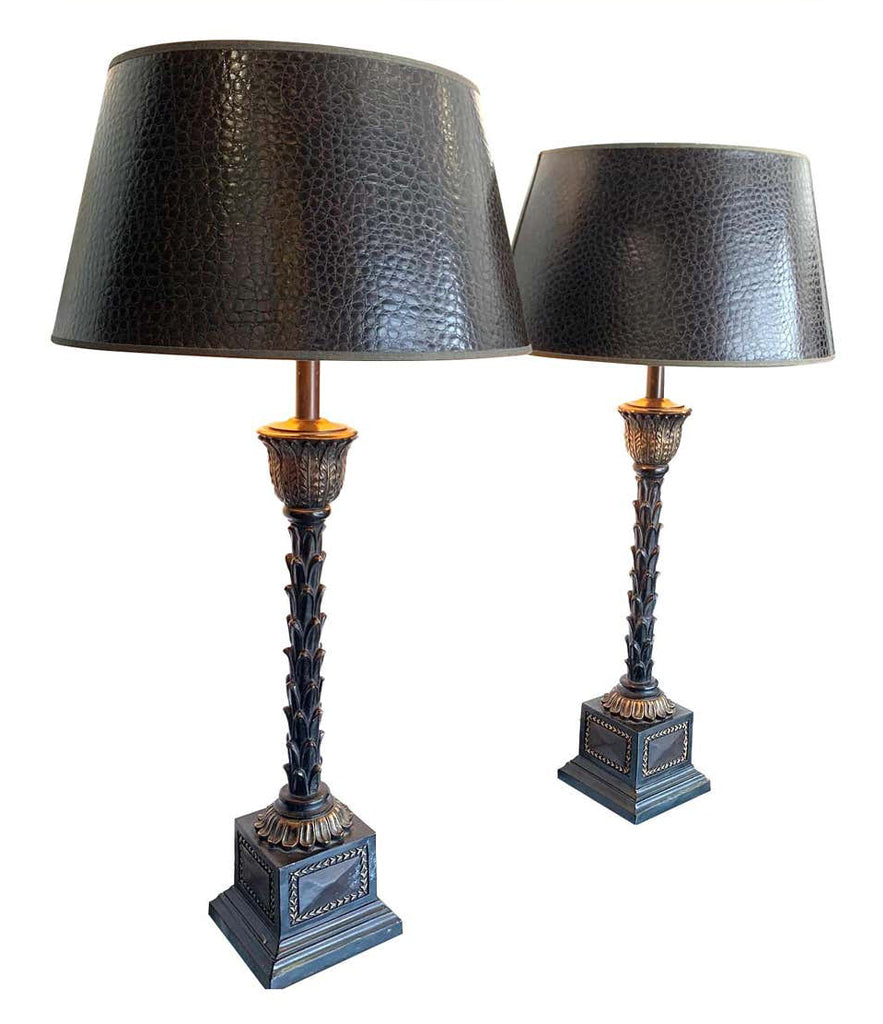 PAIR OF ORNATE TABLE LAMPS WITH PALM TREE STEMS MOUNTED ON SQUARE PLINTHS