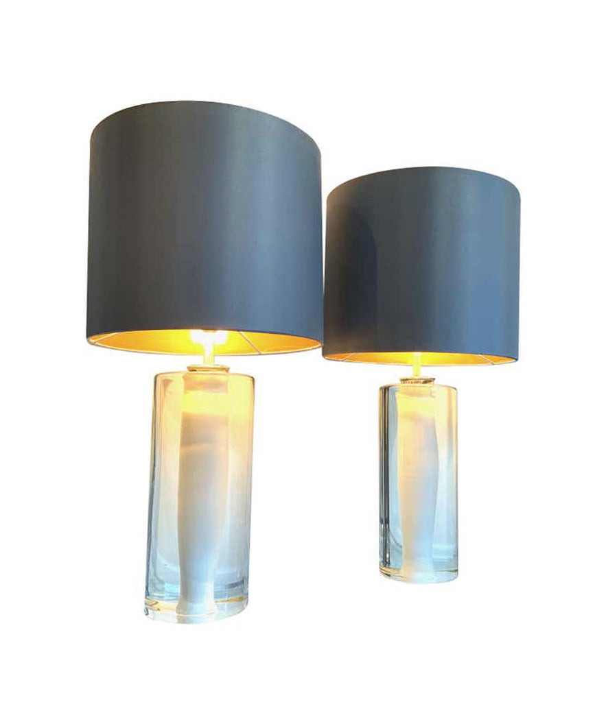 PAIR OF QUALITY 1960S GLASS LAMPS BY ORREFORS WITH WHITE AND CLEAR CENTRE BASE