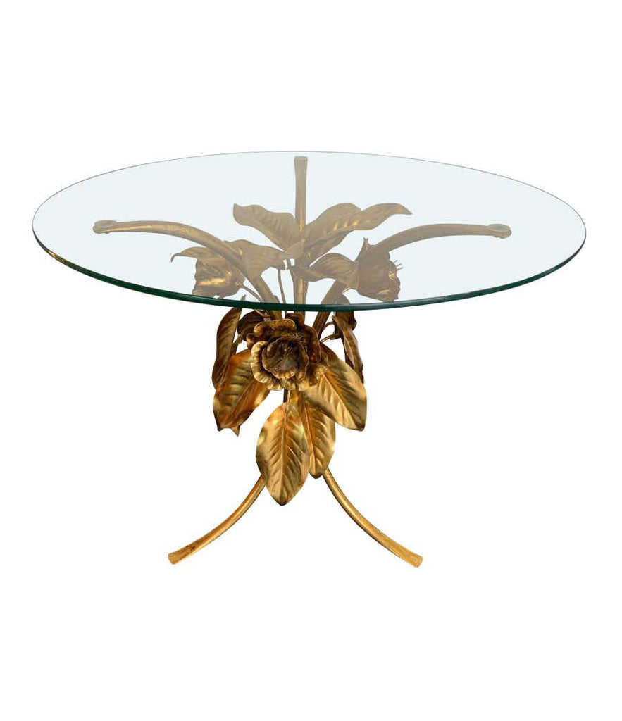 PAIR OF 1960S FRENCH GILT METAL SIDE TABLES WITH FLOWERS AND LEAF BASES