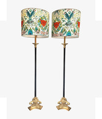 PAIR OF EMPIRE STYLE BLACK METAL AND BRASS FLOOR LAMPS WITH NEW BESPOKE SHADES
