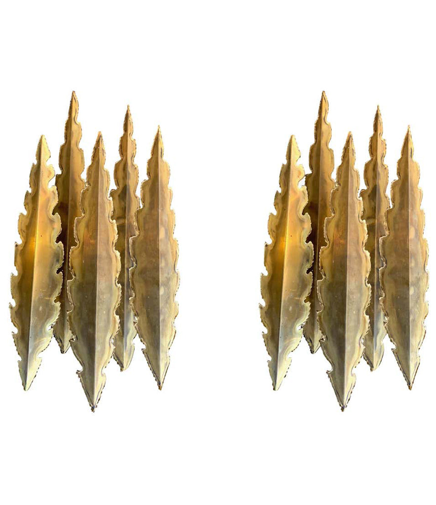 PAIR OF HOLM SORENSEN TORCH CUT BRUTALIST WALL SCONCES WITH THREE LIGHTS