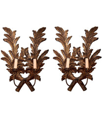 PAIR OF LARGE 1940S ITALIAN CARVED GILTWOOD LEAF SCONCES WITH SINGLE FITTINGS