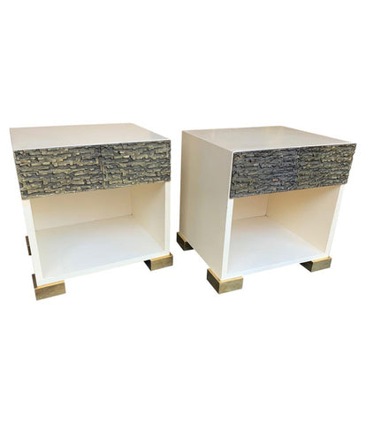 PAIR OF LUCIANO FRIGERIO BEDSIDE CABINETS WITH CAST BRUTALIST DRAWER FRONT