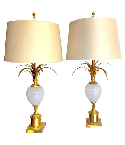 PAIR OF MAISON CHARLES STYLE LAMPS BY S A BOULANGER WITH OPALINE GLASS EGGS