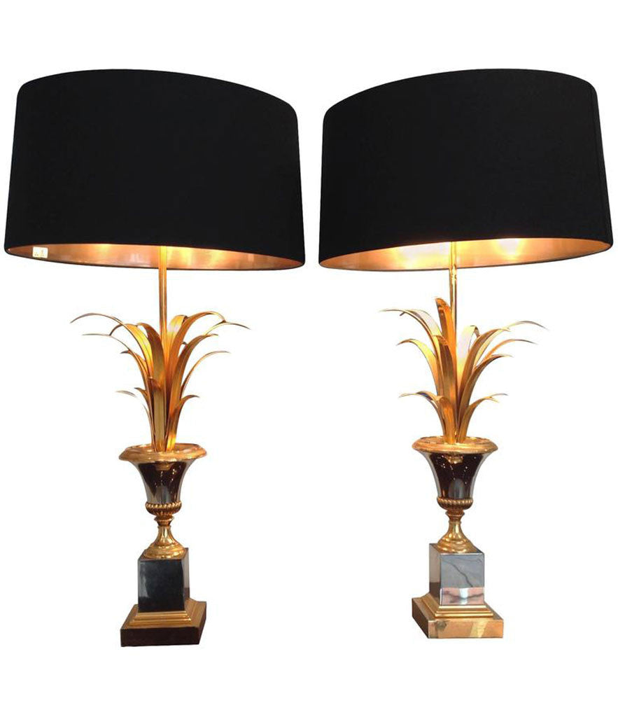PAIR OF MAISON CHARLES STYLE FROND LAMPS