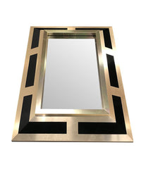 PHILIPPE JEAN BRUSHED BRASS FINISH AND BLACK LUCITE MIRROR, SIGNED