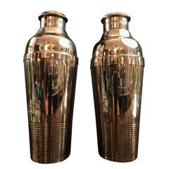 PAIR OF 1930S CHRISTOFLE SILVER PLATED COCKTAIL SHAKERS