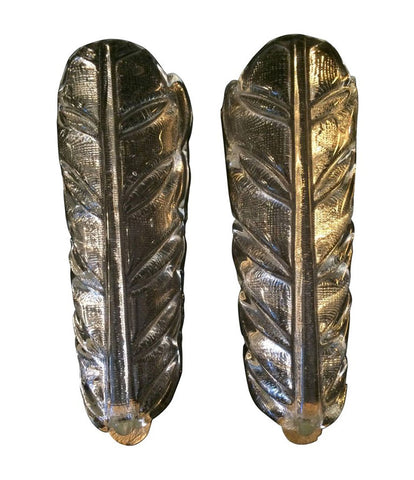 PAIR OF BAROVIER AND TOSA FEATHER WALL SCONCES