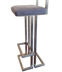 PAIR OF BRUSHED STEEL BAR STOOLS