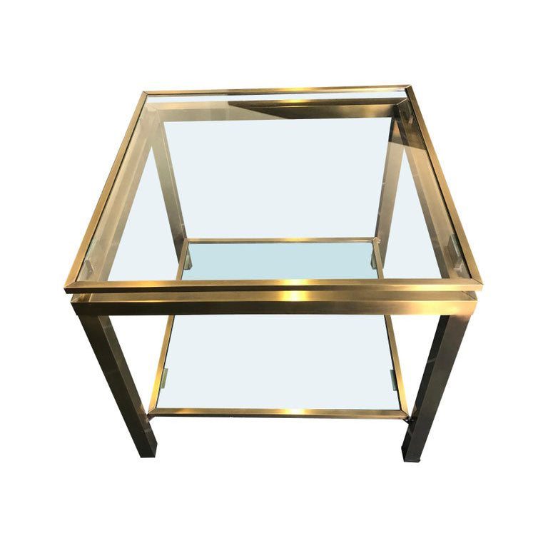PAIR OF GILT METAL SIDE TABLES IN THE GUY LEFEVRE STYLE