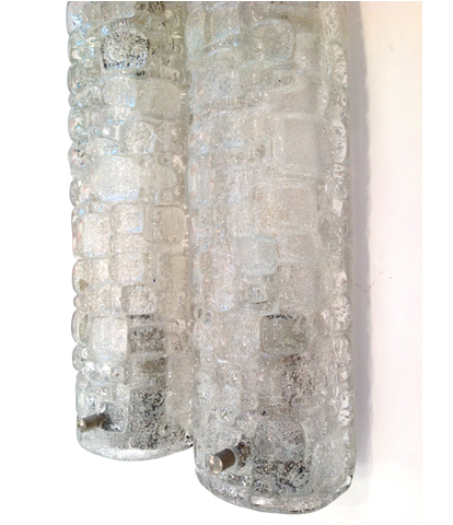 A pair of Hillebrand Ice glass wall sconces 1960s