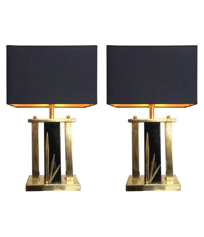 PAIR OF ITALIAN BRASS AND BLACK METAL LAMPS